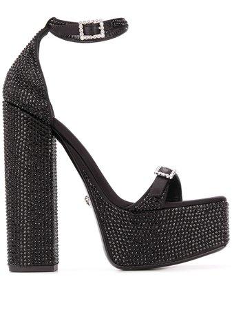 Versace Crystal Embellished 155Mmm Sandals Ss20 | Farfetch.com