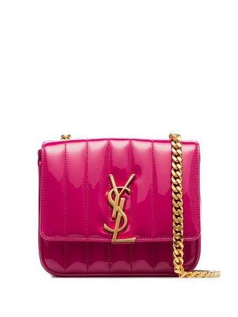 Saint Laurent pink Vicky small patent leather shoulder bag
