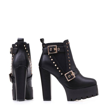 Gold Buckle and Studded High Heel Platform Chelsea Boots in Black – KOI footwear