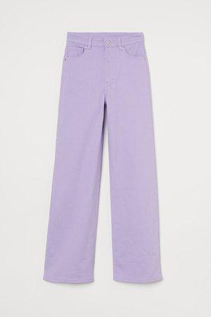 Wide-leg Twill Pants - Light purple - Ladies | H&M US