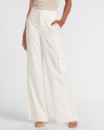 High Waisted Cargo Pocket Wide Leg Pant
