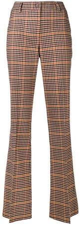 checkered high-waisted trousers