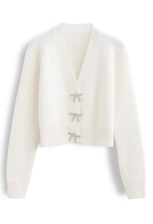 Bowknot Brooch Button Up Crop Knit Cardigan in White - Retro, Indie and Unique Fashion