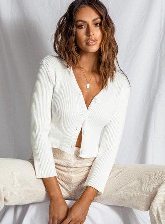 Amirah Cropped Cardigan White