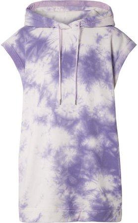 Ninety Percent - Oversized Hooded Tie-dye Organic Cotton-terry Mini Dress - Purple