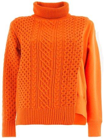 cable-knit panel sweatshirt