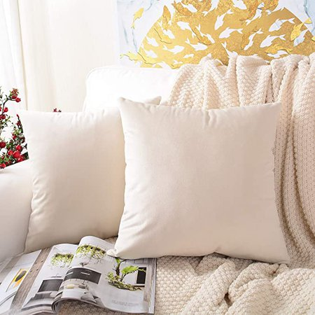 Amazon.com: MERNETTE Pack of 2, Velvet Soft Decorative Square Throw Pillow Cover Cushion Covers Pillow case, Home Decor Decorations for Sofa Couch Bed Chair 18x18 Inch/45x45 cm (Cream): Home & Kitchen