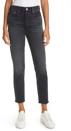 High Waist Stovepipe Jeans