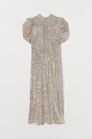 Puff-sleeved Sequined Dress - Beige