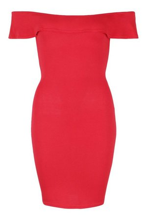 Petite Off The Shoulder Mini Dress | boohoo red