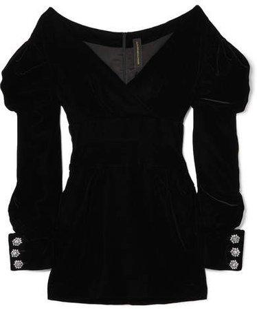 Off-the-shoulder Velvet Mini Dress - Black