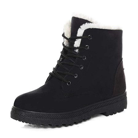 Snowball Boots for Women Outdoor Winter Snow Boots Suede Cotton Warm Fur Lined Ankle Booties Lace Up Flat Platform Shoes Black