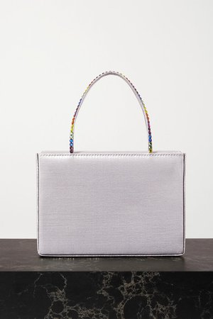 Gilda Mini Crystal-embellished Metallic Satin Tote - Silver