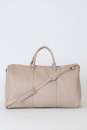 Oversized Beige Weekender - Vegan Leather Purse - Beige Bag - Lulus