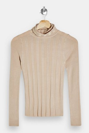Mixed Ribbed Roll Neck Knitted Sweater | Topshop