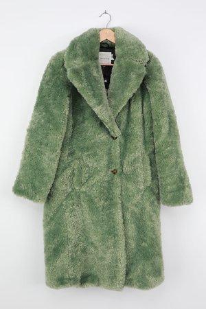 Avec Les Filles - Green Faux Fur Coat - Collared Longline Coat