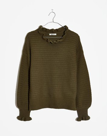 Women's Ruffle-Neck Pullover Sweater | Madewell