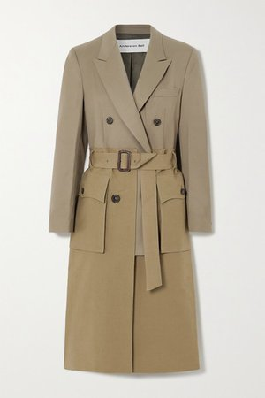 Belted Layered Cotton-twill And Wool-blend Trench Coat - Army green