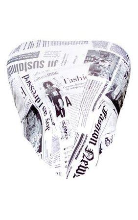 Mono Newspaper Printed Bandeau Handkerchief Crop Top | PrettyLittleThing