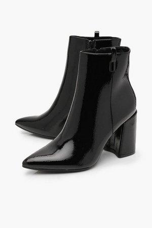 Pointed Block Heel Shoe Boots | Boohoo