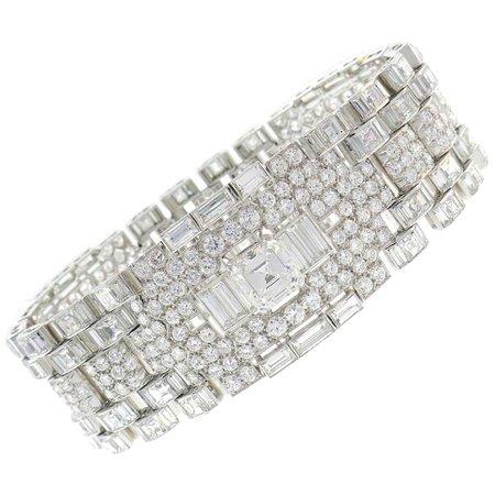 Important Diamond Platinum Bracelet, 1960s For Sale at 1stDibs