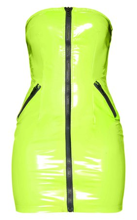 *clipped by @luci-her* Neon Lime Vinyl Bandeau Buckle Bodycon Dress | PrettyLittleThing USA