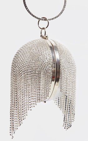 Silver Diamante Tassel Ball Clutch | PrettyLittleThing USA