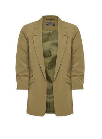 Khaki Ruched Sleeve Jacket | Dorothy Perkins