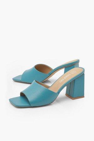 Extreme Square Toe Block Heel Mules | Boohoo UK