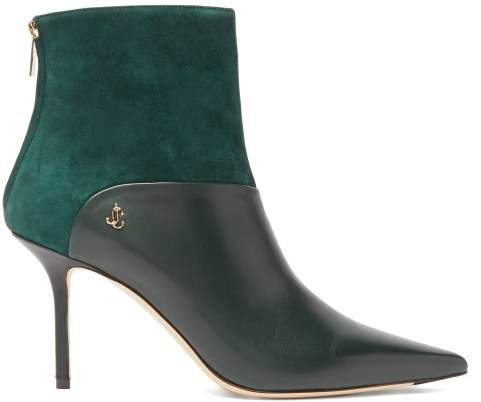 Beyla 85 Leather And Suede Ankle Boots - Womens - Dark Green