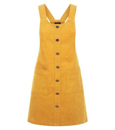 Mustard Button Front Corduroy Pinafore Dress | New Look