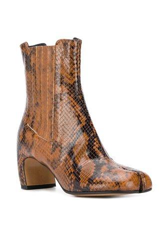 Maison Margiela Tabi Toe Snakeskin Effect Boots - Farfetch