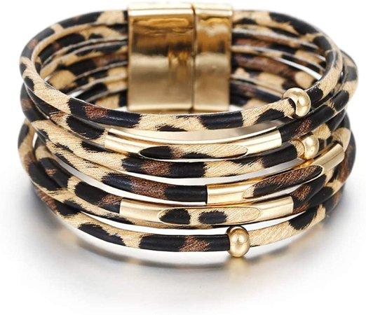 Amazon.com: Lingdong Leopard Leather Bracelets for Fashion Women Leather Bracelet & Bangles Elegant Multilayer Wrap Wide Bracelet Jewelry: Clothing