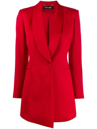 Styland Ruched Sleeve Blazer 127191653 Red | Farfetch
