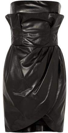 Strapless Leather Mini Dress