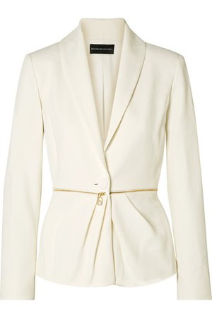 Brandon Maxwell | Zip-embellished pleated twill blazer | NET-A-PORTER.COM