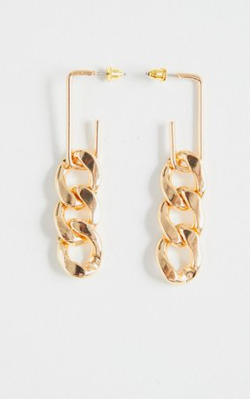 Gold Chain Medium Hoop Earrings | Accessories | PrettyLittleThing