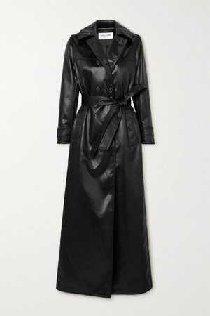 Black Belted faux leather trench coat | SAINT LAURENT | NET-A-PORTER
