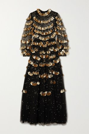 Black Sequin-embellished tulle gown | Valentino | NET-A-PORTER
