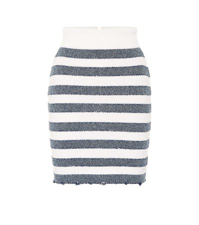 Striped knit miniskirt