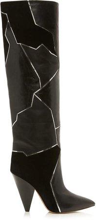 Isabel Marant Lytica Leather Velvet Boots
