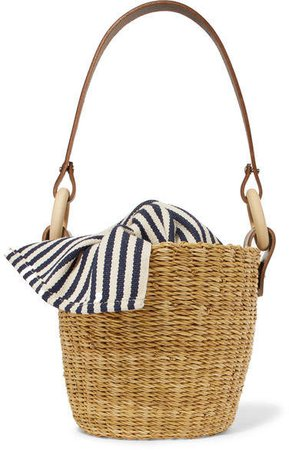 Seau Straw And Striped Cotton-canvas Bucket Bag - Navy