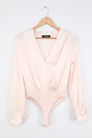 Pale Pink Satin Blouse - Long Sleeve Bodysuit - Surplice Bodysuit - Lulus