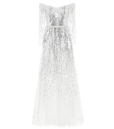 Marchesa Notte - Off-the-shoulder sequined gown | Mytheresa