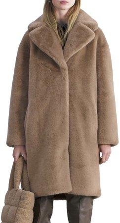 Camille Long Faux Fur Cocoon Coat