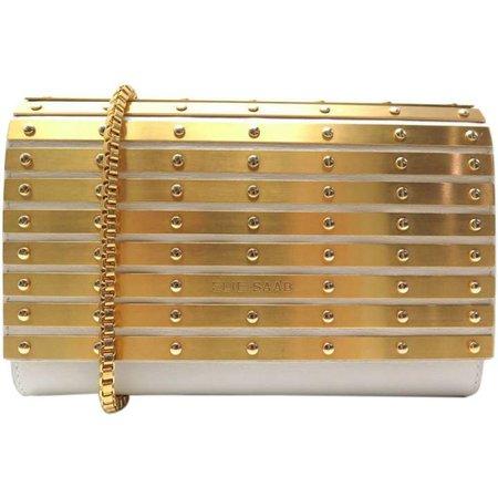 Elie Saab Gold Leather Clutch Bag