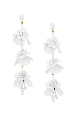 Naked City Clothing Flower Drop Earrings in White | Freely Bloom
