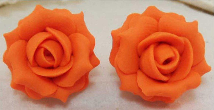 Orange Rose Earrings