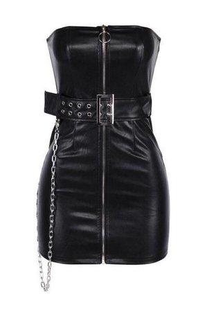 black leather strapless mini dress