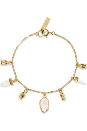 Isabel Marant | Gold-tone, bone and enamel bracelet | NET-A-PORTER.COM